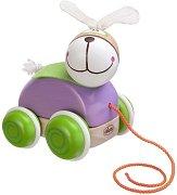 Заек - Дървена играчка за дърпане -