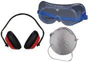 Маска за прах, защитни очила и антифон - Комплект предпазни средства
