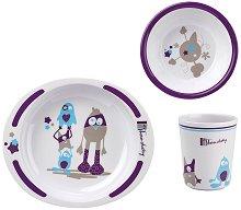 Детски комплект за хранене - Monster - За бебета над 6 месеца -