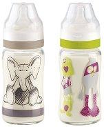 Стъклени бебешки шишета за хранене - 240 ml - Комплект от 2 броя със силиконов биберон за бебета над 4 месеца -