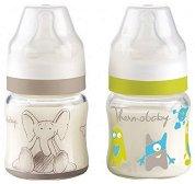 Стъклени бебешки шишета за хранене - 120 ml - Комплект от 2 броя със силиконов биберон за бебета от 0+ месеца -