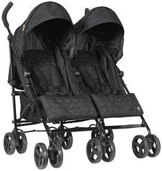 Лятна бебешка количка за близнаци - Bobby: Black - С 6 колела -
