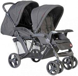 Комбинирана бебешка количка за близнаци - Riley Tandem - С 4 колела -