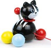 Коте - Мину - Дървена играчка за дърпане -