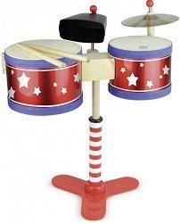 Барабани с чинел - Детски дървен музикален инструмент - играчка