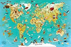 Магнитен пъзел - Карта на Света - Оливер Хюет (Oliver Huette) -