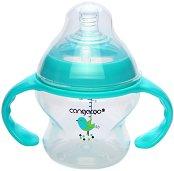 Бебешко шише за хранене с дръжки - Tiki 150 ml - Комплект със силиконов биберон размер 1 за бебета от 0+ месеца - продукт
