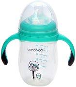 Бебешко шише за хранене с дръжки - Chickling 180 ml - Комплект със силиконов биберон размер S за бебета от 0+ месеца -