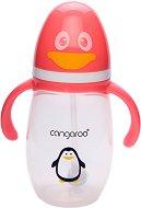 Бебешко шише за хранене с дръжки - Пингвинче 300 ml - Комплект със силиконов накрайник и биберон с променящ се поток -