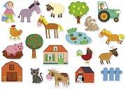 Животните от фермата - Комплект от 20 дървени фигури с магнит -