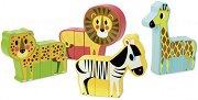 Диви животни - 12 дървени фигурки с магнит - играчка
