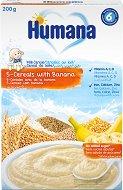 Инстантна млечна каша - 5 Зърна с банан - Опаковка от 200 g за бебета над 6 месеца - пюре