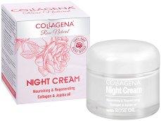 """Collagena Rose Natural Night Cream Nourishing & Regenerating - Подхранващ и регенериращ нощен крем за лице с колаген и масла от жожоба и роза от серията """"Rose Natural"""" - крем"""
