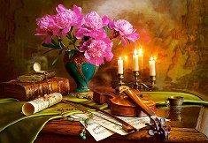 Натюрморт с цигулка и цветя - пъзел