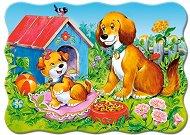 Кученца в градина - Пъзел в нестандартна форма с едри елементи - пъзел