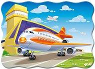 Самолет на пистата - Пъзел в нестандартна форма с едри елементи -