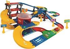 Писта с паркинг - Комплект с 3 колички - играчка