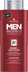 "Schwarzkopf Men Deep Effect 3 Arginine + Growth Factor Shampoo - Шампоан за мъже с аргинин против косопад от серията ""Men Deep Effect 3"" - шампоан"
