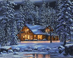 Рисуване по номера - Зимен пейзаж - Комплект за картина с размери 50 x 40 cm
