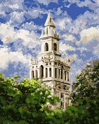 Рисуване по номера - Бялата кула - Комплект за картина с размери 50 x 40 cm