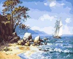 Рисуване по номера - Морски залив - Комплект за картина с размери 50 x 40 cm