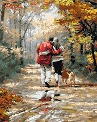 Рисуване по номера - Разходка за двама - Комплект за картина с размери 50 x 40 cm