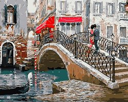 Рисуване по номера - Мост във Венеция - Комплект за картина с размери 50 x 40 cm