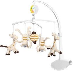 Музикална въртележка - Жирафчета и маймунки - Играчка за бебешко креватче -
