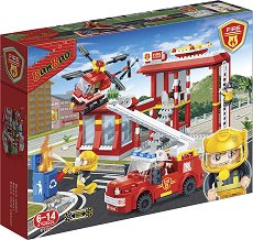 """Пожарна станция - Детски конструктор с pull-back механизъм от серията """"BanBao Fire"""" - играчка"""