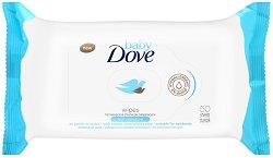 """Baby Dove Wipes Rich Moisture - Бебешки мокри кърпички за нормална до суха кожа в опаковка от 50 броя от серията """"Baby Dove"""" - мокри кърпички"""