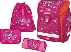 Ергономична ученическа раница - Midi Plus: Pink Butterfly - Комплект с 2 несесера и спортна торба - образователен комплект