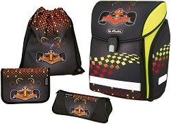 Ергономична ученическа раница - Midi Plus: Formula 1 - Комплект с 2 несесера и спортна торба - несесер