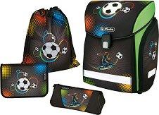 Ученическа раница - Soccer - Комплект с 2 несесера и спортна торба -