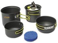 Туристически съдове за готвене - Double Alu - Комплект от 4 части и торбичка за съхранение