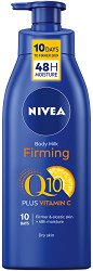 """Nivea Q10 Plus + Vitamin C Firming Body Milk - Стягащо мляко за тяло за суха кожа от серията """"Q10 plus C"""" - шампоан"""