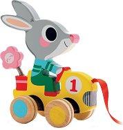 Зайчето Роли - Дървена играчка за дърпане - играчка