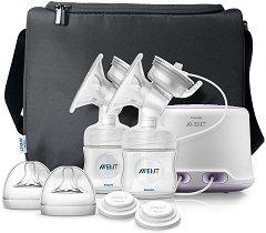 Двойна електрическа помпа за изцеждане на кърма - Comfort - Комплект с шишета и удобна чанта за пренасяне -