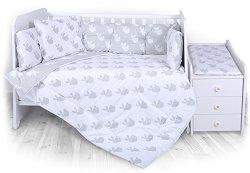 Спален комплект за бебешко креватче - Trend - 5 части, за матрак с размер 62 x 110 cm -