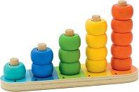 Дидактически пръстени - Oбразователна играчка за нанизване от дърво -