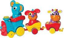 Влакче с животни със светлинен и музикален ефект - играчка