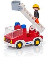 """Пожарникарски камион със стълба - Детски конструктор от серията """"Playmobil: 1.2.3"""" - играчка"""