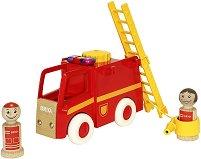 Пожарникарска кола - Дървена играчка със звуков и светлинен ефект -