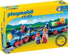 """Нощен влак с релси - Детски конструктор от серията """"Playmobil: 1.2.3"""" -"""