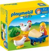 """Домакиня с кокошки и пилета - Мини фигури от серията """"Playmobil: 1.2.3"""" - играчка"""