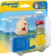 """Строител с количка - Мини фигура от серията """"Playmobil: 1.2.3"""" - играчка"""
