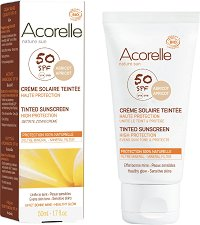 Acorelle Tinted Sunscreen High Protection - SPF 50 - Био тониращ слънцезащитен крем за лице и тяло за чувствителна кожа -