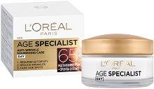 """L'Oreal Paris Age Specialist 65+ Day Cream - SPF 20 - Възстановяващ дневен крем против бръчки от серията """"Age Specialist"""" - продукт"""