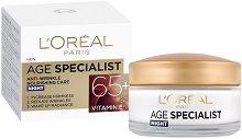 """L'Oreal Paris Age Specialist Night Cream 65+ - Възстановяващ нощен крем против стареене от серията """"Age Specialist"""" - масло"""