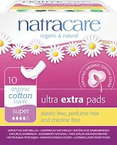 Natracare Ultra Extra Pads Super - Дамски превръзки с крилца в опаковка от 10 броя - крем