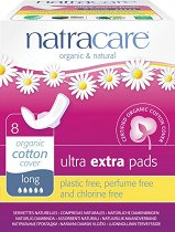 Natracare Ultra Extra Pads Long - Дамски превръзки с крилца в опаковка от 8 броя -